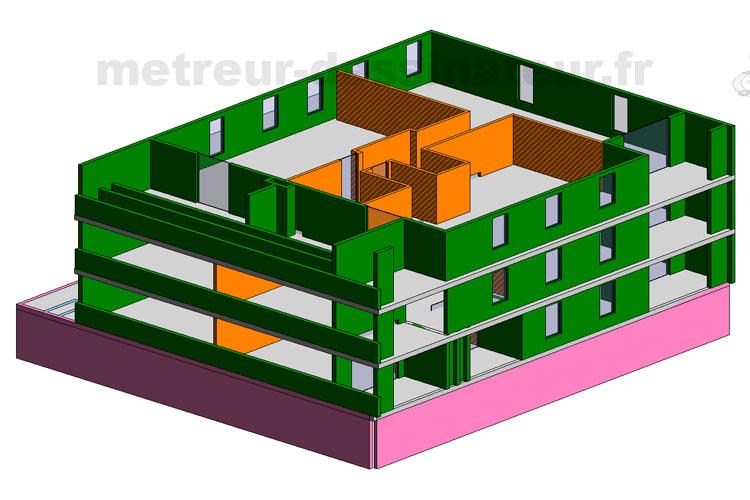 A3 Métré estimation étude de prix bâtiment collectif Toulouse Haute-Garonne Midi-Pyrénées 31